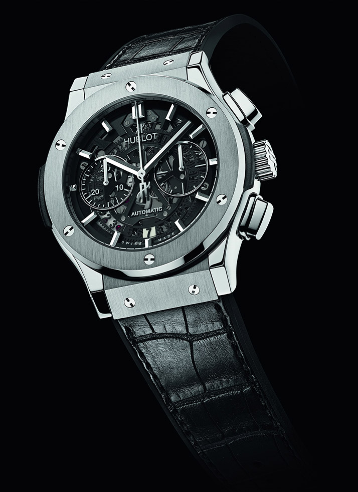 black leather strap fake Hublot Aero Bang
