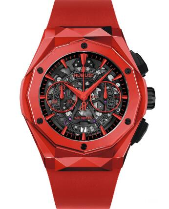 The red ceramic timepiece is bright and eye-catching.