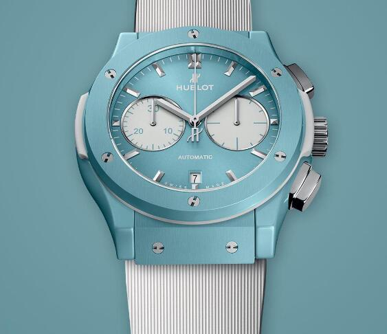 The sky blue dial Hublot looks fresh and pure.